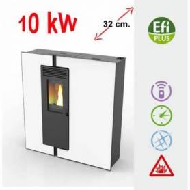 Estufas de PASILLO PRISMA Basic blanca de PelletS 10 kW. Lasian